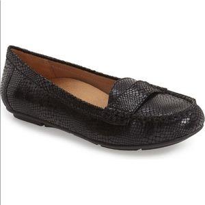 Vionic Aladdin Snake Print Leather Loafer Black